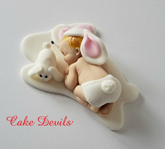 Fondant Bunny Baby Shower Cake Topper Easter Rabbit Sleeping Decoration Baptism Handmade Edible