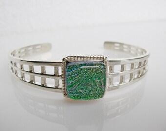 Emerald Green Fused Glass Bracelet Sterling Silver Bracelet Dichroic Jewelry Fused Glass Jewelry Sterling Silver Jewelry May Birthday Gifts