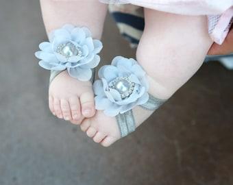 Barefoot Sandals ~ Gray Flower Sandals ~ Toddler Sandals ~ Newborn Sandals ~ Babygirl Sandals ~ Flower girl sandals, barefoot sandals