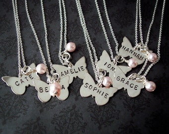 Hand Stamped BUTTERFLY Sterling personalized necklace Child's length chain available FLOWER girl First COMMUNION etc.