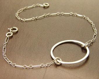 Silver Chain Bracelet, eternity circle bracelet sterling silver dainty everyday minimal jewelry