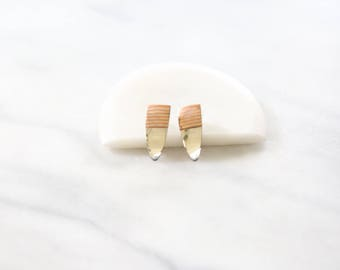 1970's Vintage Silver and Copper Pointed Arrow Stud Earrings // Silver and Copper Striped Studs