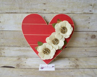 READY TO SHIP, Red Heart Wood Sign with Cream and Gold Felt Flowers, Home Decor, Wood Plaque, Nursery Decor, Baby Shower, Gallery Wall Sign