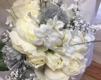 Bridal bouquet to match center pieces  silver/gray carnations bouquet  white roses 008