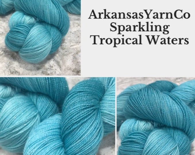 Tropical Waters/Sparkle yarn /Hand Dyed Yarn/Indie Dyed Yarn/Knitting/Crochet/Sock Yarn/Shawl yarn/SW Merino Nylon/Tonal yarn