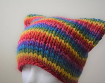 Rainbow Knit Cat Hat  / Pride Rainbow Flag