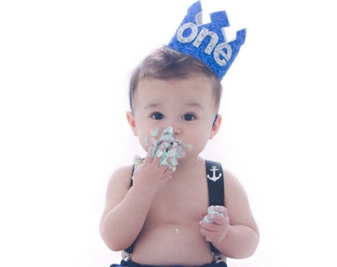 First Birthday Crown Blue and Silver   Birthday Party Hat Crown   Photo Prop   First Birthday   Ready to Ship