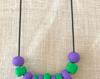Purple and green handmade polymer clay chunky necklace, 70cm rubber cord with breakaway clasp
