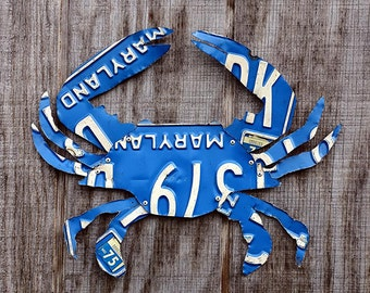 Maryland Blue Crab Made From Vintage Maryland License Plates