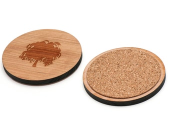 Weeping Willow Wooden Coasters Set of 4, Gifts For Him, Wedding Gifts, Groomsman Gifts, and Personalized