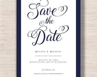 Classic Navy Save The Date  - PRINTABLE - Digital File
