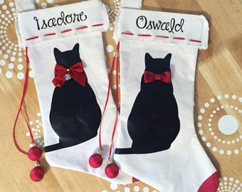 Cat Christmas Stocking, Christmas Cat Stocking, Black Cat Christmas Stocking, Pet Stocking