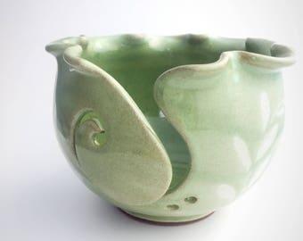 Ceramic Yarn Bowl // Knitting Bowl // Yarn Organizer in Spring Green