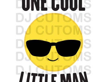 One Cool Little Man -  Vector File for Printing - Emoji Little Boy Shirt File