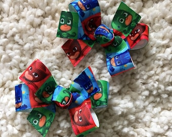 PJ Masks Hair Bow - pj masks, pj masks  bows, pj masks party, pj masks Birthday,  pj masks Party Favor,  pj masks Loot bags,  pj masks bow