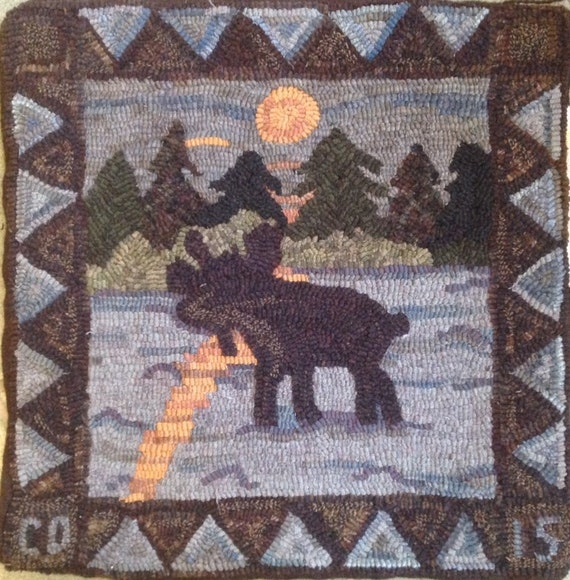 "Rug Hooking Pattern, Moonshine Moose, 20"" x 20"" P115"