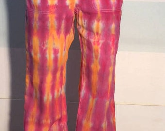 Tie Dye Upcycled Linen Pants Pink & Orange