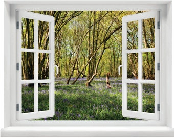 Window with a View Bluebells in Woodland Wall Mural