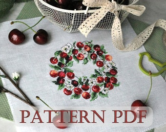 Cross Stitch pattern PDF - summer wreath, cherry wreath, Counted Cross Stitch, Nappe Cerises,Instant Download