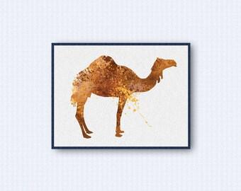 Camel Watercolor Poster