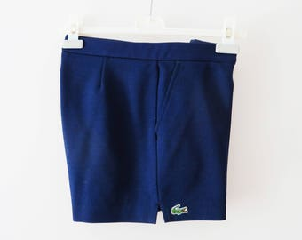 Vintage 80s LACOSTE Shorts Navy Blue Men's Tennis Shorts Navy Beach Shorts With Pockets Golf Shorts Athletic Clothing Sports Wear Medium