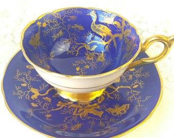 COALPORT  Colbalt Blue and Gold/ Bird of Paradise Tea Cup and Saucer Made in England / Vintage Tea  / Shabby Elegant Teacup Set/ Cabinet Cup
