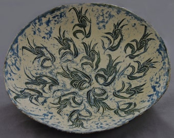 Summer Heat - handmade ceramic bowl, large ceramic bowl, large pottery bowl, hand carved pottery, interior decor, gift idea, wedding gift