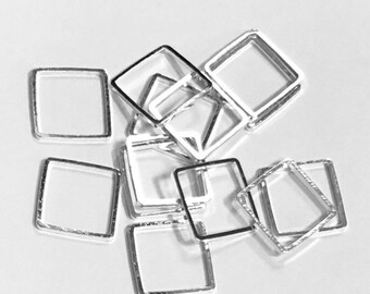 50 pcs of Silver plated brass square links 12mm