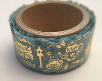 """ROUND TOP Die-cut """"United Kingdom"""" Blue with Gold Foil Washi Masking Tape"""