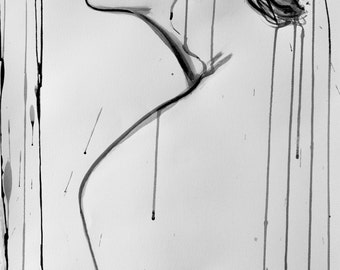 Nude erotic watercolor sumi-e ink painting, Nude model in profile, FINE ART PRINT, Nude woman painting, Wall art, Home decor, Alex Solodov