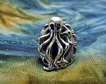Silver Ring,  Steampunk Nautical  Octopus Ring Adjustable Mens Womens Gift Handmade