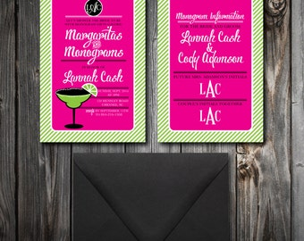 Monograms and Margaritas Shower Invitations (100)