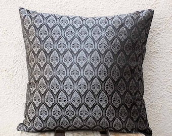 Damask Pillow Cover Grey 16 inch Pillow Cover Decorative Pillow Throw Pillow Cover Damask Throw Pillow 16x16 - of1A