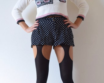 Vintage 90s Five O Clock Tea Time Novelty Knit Cropped Sweater (size small, medium)