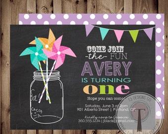 PINWHEEL Rainbow Confetti birthday invitation,mason jar, pinwheels, girl birthday, tween birthday, 1st, 2nd, 21st birthday, party invitation