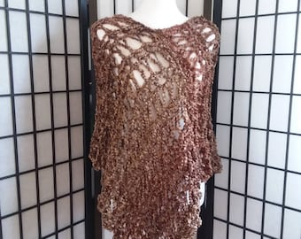Handmade, Knitted, Lighthtweight, Chunky Poncho, Wrap, Sweater.
