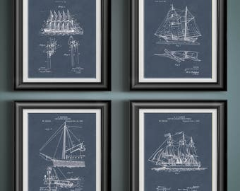 Sailing Patent Print Nautical Artwork Nautical Nursery Seafaring Gift for Sailor Art Nautical Gift Nautical Bath Wall Art Set of 4 PP 8490