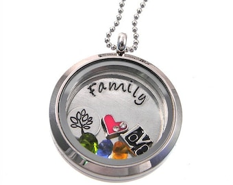 Family Floating Locket / Tree of Life Necklace / Memory Locket