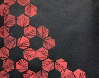 Geometric Lino Print - Rising Red