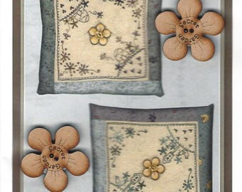 Lynette Anderson Designs - Garden Pincushion - Embroidery Sewing Pattern - Two Secret Garden Wood Buttons