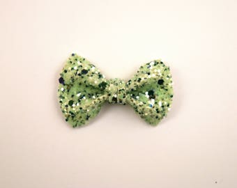 Shades of Green Glitter TINY Alligator Clip Bow for Newborn Baby Child Little Girl Adult Photo Prop Adorable Photo Christmas Holiday Clip