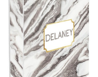 Personalized Binder Cover, Marble and Gold