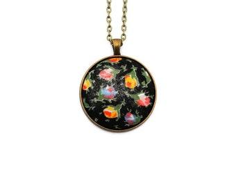 Vintage Floral Fabric Pendant Necklace