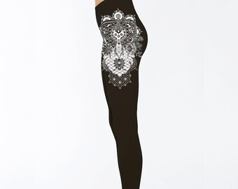 Women's PERENNIALS Mandala Black Leggings Sacred Geometry Clothing Blackwork Tattoo Style Tights Active Wear