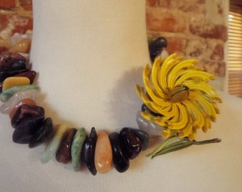 Bold Agate and Jade Statement Necklace w/Vintage Yellow Flower Brooch