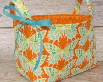 Sale / Clearance - READY TO SHIP - Fabric Organizer Storage Bin Container Basket - Butterflies on Orange Fabric - Nursery Baby Room Decor