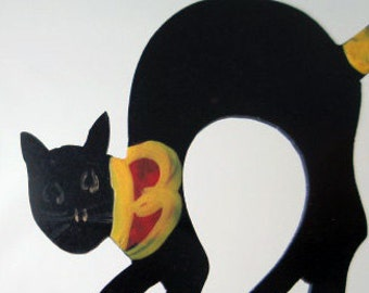 Celluloid Halloween  Black Cat Placecard Holder