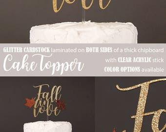 Fall in love cake topper, Engagement cake topper, Fall wedding, Bridal shower, Fall leaves cake topper, Glitter party decorations