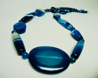 Blue Agate Jewelry, Necklaces for Women, Blue Agate Necklace, Gemstone Necklaces, Beaded Agate Necklace, Mothers Day Gift, Unique Necklace