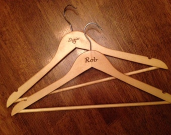 Wooden Hangers - Custom Laser Engraved (set of 4)